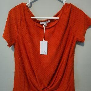 Rose and Olive orange shirt, casual size medium